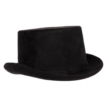 Black Faux Suede Top Hat