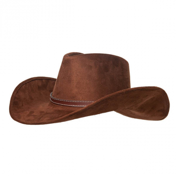 Brown Faux Suede Cowboy Hat