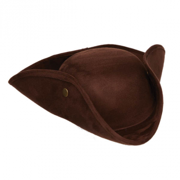Brown Faux Suede Tri-Corner Hat