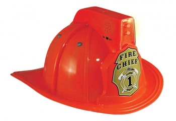 Junior Fire Chief Helmet - Red with Siren and Light