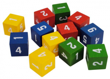 Number Dice (1-6, 4 colors, set of 12)