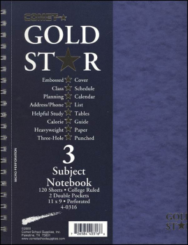 Gold Star Three Sections Notebook