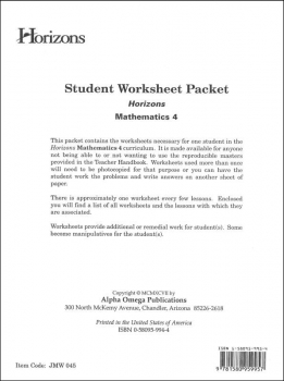 Horizons Math 4 Worksheet Packet