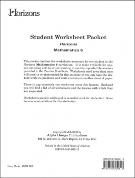 Horizons Math 6 Worksheet Packet