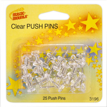 Clear Push Pins - 25 count