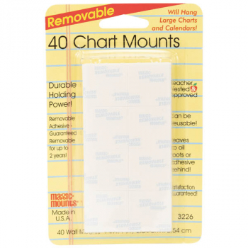 "Removable Chart Mounts - 40 count (1"" x 1"")"