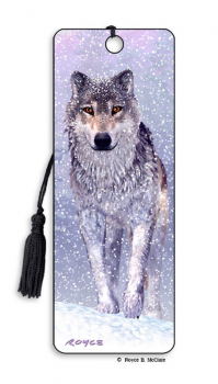 Snow Wolf 3D Bookmark