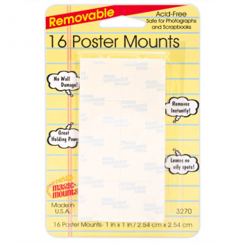 "Removable Poster Mounts - 16 count (1"" x 1"")"