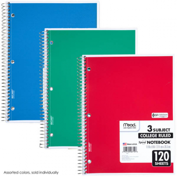 "Mead Spiral Notebook 3 Subject, 120 Sheets, College-Ruled, 11""x8"" (assorted colors)"
