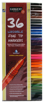 Colored Marker Set - 36 Washable Fine Line