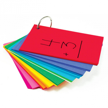 "Study Buddies - 100 Cards with Corner Drill in Assorted Primary Colors (3"" x 5"")"