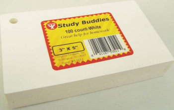 Study Buddies - 100 White Cards with Corner Drill