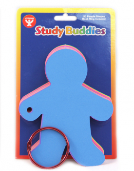 "Study Buddies Note Cards, 50 - 5"" People-Shaped Cards (5 Assorted Colors)"