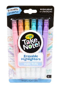 Crayola Take Note! Erasable Highlighters - Pastel Party (6 count)