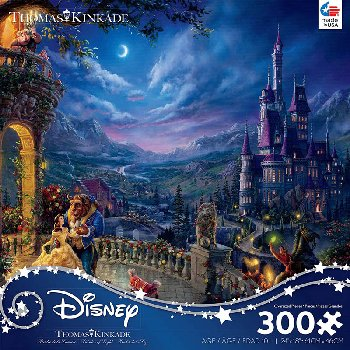 Beauty and the Beast in the Moonlight Puzzle (Thomas Kinkade Disney Collection) 300 Oversized Pieces