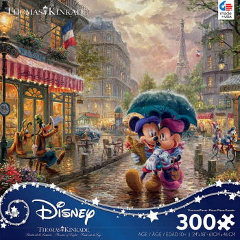 Mickey and Minnie in Paris Puzzle (Thomas Kinkade Disney Collection) 300 Oversized Pieces