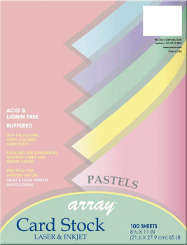 "Card Stock - Pastels (100 Sheets - 8½"" x 11"" )"