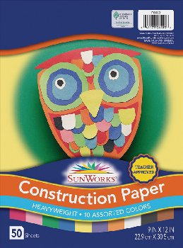 "SunWorks Construction Paper Assorted 9""x12"""