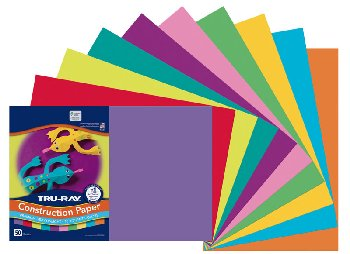 "Construction Paper Fade-Resistant 12"" x18"" Bright Colors"