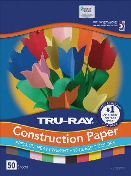 "Construction Paper Fade-Resistant 9"" x 12"" Assorted Colors"