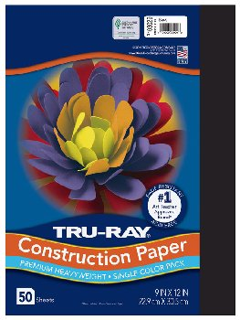 "Construction Paper Fade-Resistant 9"" x 12"" Black"