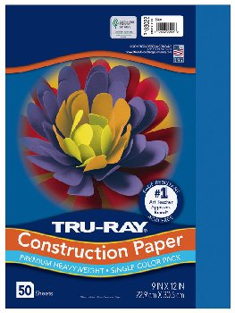 "Construction Paper Fade-Resistant 9"" x 12"" Blue"