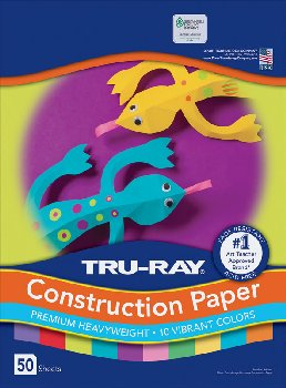 "Construction Paper Fade-Resistant 9"" x 12"" Bright Colors"