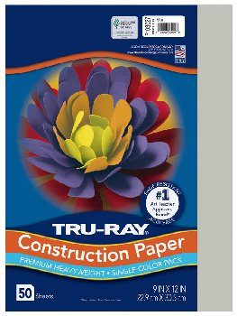 "Construction Paper Fade-Resistant 9"" x 12"" Gray"