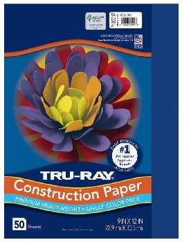 "Construction Paper Fade-Resistant 9"" x 12"" Royal Blue"