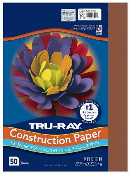 "Construction Paper Fade-Resistant 9"" x 12"" Warm Brown"