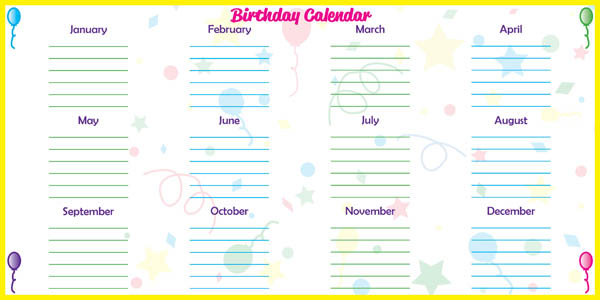 "Low Tac Dry Erase Birthday Calendar Horizontal (48"" x 24"")"
