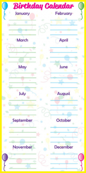 "Low Tac Dry Erase Birthday Calendar Vertical (24"" x 48"")"