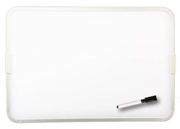 "Two-Sided Framed Magnetic Dry Erase Board with Marker and Cap Eraser (9"" x 12"")"