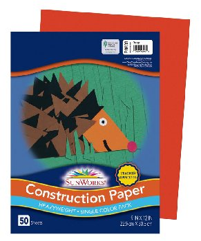 "Construction Paper 76# Orange 9""x12"""