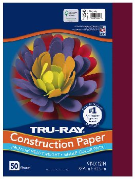 "Construction Paper Fade-Resistant 9"" x 12"" Burgundy"