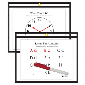 "Reusable Dry Erase Pocket 12""x9"" Side Loading"