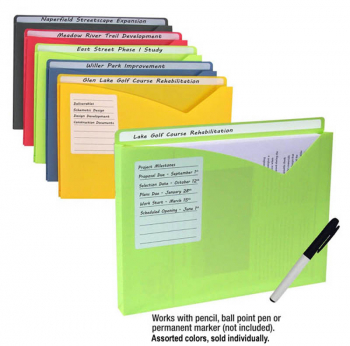 Write-On Poly File Jacket Letter Size (Single, Assorted)