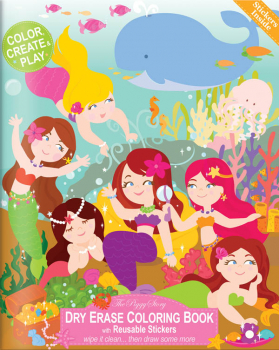Dry Erase Coloring Book - Magical Mermaids