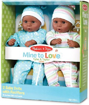 "Mine to Love Tyler & Taylor 15"" Twin Dolls"