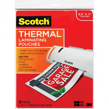 "Thermal Laminating Pouches, Letter Size 8.5"" x 11"" 20 per pack"