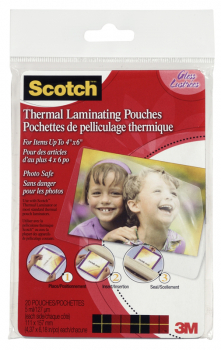 "Thermal Pouches, Photo Size 4"" x 6"" 20 per pack"