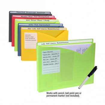 Write-On Poly File Jacket Letter Size 10-Pack Assorted Colors