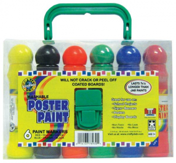 Poster Paint Markers - 6 Pack Carry Case