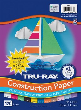 "Tru-Ray Smart-Stack Assortments, 11 Assorted Colors (12"" x 18"") - 120 Sheets"