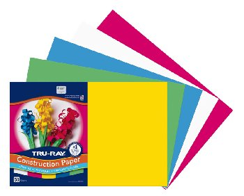 "Tru-Ray Sulphite Construction Paper - Primary Assorted, 5 Colors (12"" x 18"") - 50 Sheets"