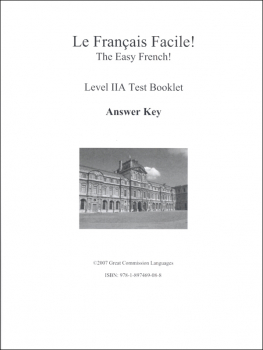 Easy French Level 2A Test Answer Key