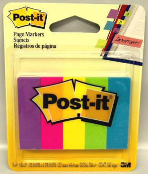 "Post-It Page Markers 1/2"" x 2"" Ultra Colors"
