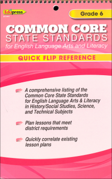English Language Arts & Literacy Quick Flip Reference - Grade 6