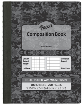 Dual Ruled Composition Book - Dark Gray Cover (Grid & College)