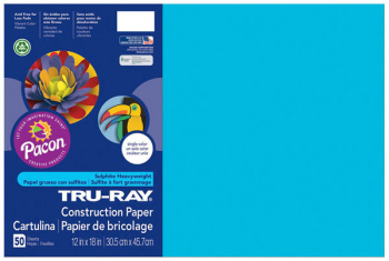 "Tru-Ray Sulphite Construction Paper-Atomic Blue (12""x 18"") 50 sheets"